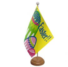 HAPPY EASTER - TABLE FLAG WITH WOODEN BASE